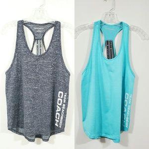 LOT ot 2 Team Beachbody Workout Shirt Aqua Gray S